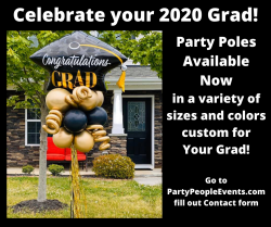 Graduation Party Pole with Grad Cap and Curly Q's